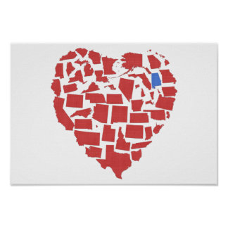 Alabama American States Heart Mosaic Red Poster