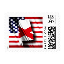 Alabama and American Flag Postage Stamp