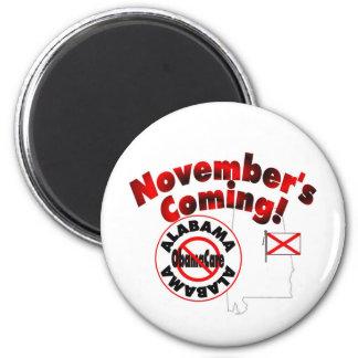 Alabama Anti ObamaCare – November's Coming! 2 Inch Round Magnet