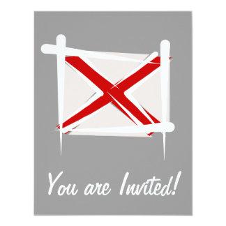 Alabama Brush Flag 4.25x5.5 Paper Invitation Card