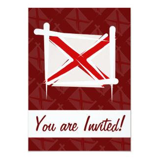 Alabama Brush Flag 5x7 Paper Invitation Card