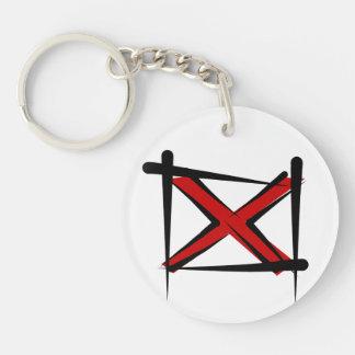 Alabama Brush Flag Double-Sided Round Acrylic Keychain