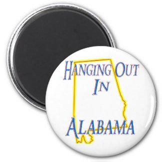 Alabama - colgando hacia fuera imán redondo 5 cm
