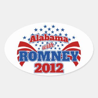Alabama con Romney 2012 Pegatinas De Oval