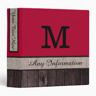 Alabama Crimson Color Rustic Look Wood Monogram 3 Ring Binder