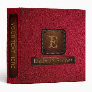 Alabama crimson Leather Elegant Monogram Binder