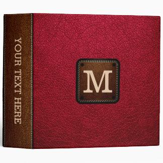 Alabama Crimson Leather Look Monogram Binder