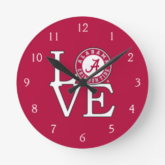 Alabama Crimson Tide Love Round Clock