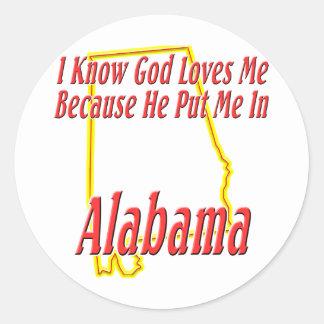 Alabama - dios me ama pegatina redonda