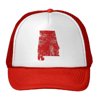 Alabama Distressed Red State Snap Back Trucker Hat