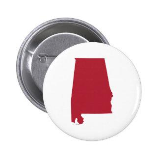 Alabama en rojo pin redondo de 2 pulgadas