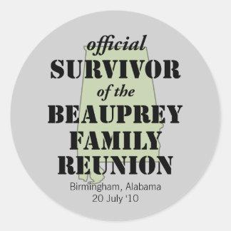 Alabama Family Reunion Survivor (green) Classic Round Sticker