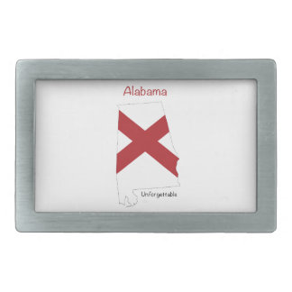 Alabama Flag and Map Rectangular Belt Buckle
