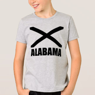 Alabama Flag Black X And Text T-Shirt