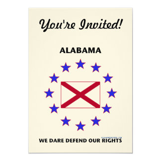 Alabama Flag Defend Our Rights 5x7 Paper Invitation Card