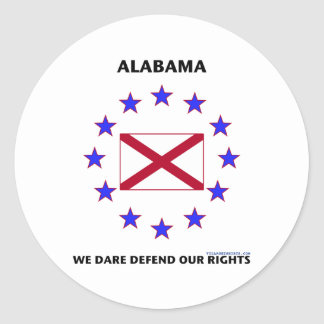 Alabama Flag Defend Our Rights Classic Round Sticker