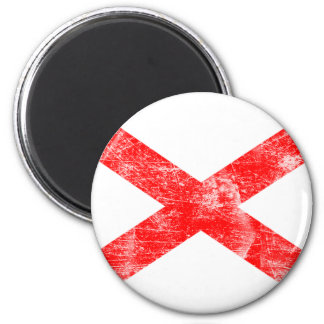 Alabama Flag (Distressed) 2 Inch Round Magnet