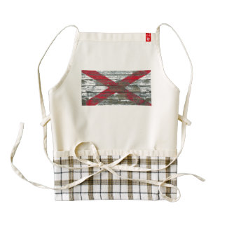Alabama Flag on Rough Wood Boards Effect Zazzle HEART Apron
