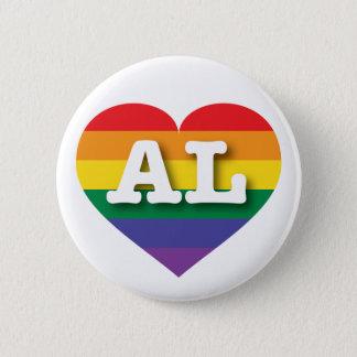 Alabama Gay Pride Rainbow Heart - Big Love Pinback Button