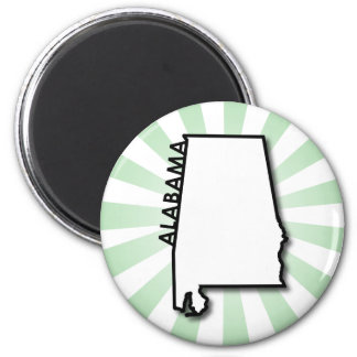 Alabama Green Burst 2 Inch Round Magnet