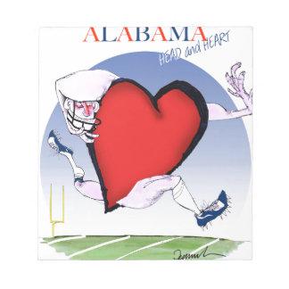 alabama head heart, tony fernandes notepad