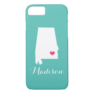 Alabama Heart Aqua Custom Monogram iPhone 7 Case
