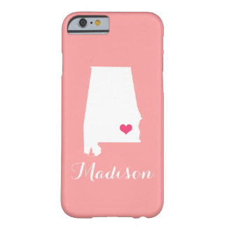 Alabama Heart Coral Custom Monogram Barely There iPhone 6 Case