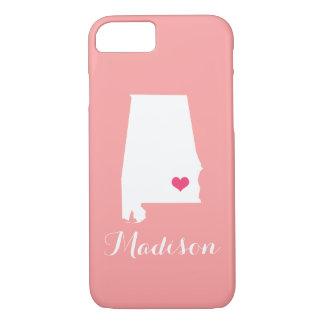 Alabama Heart Coral Custom Monogram iPhone 7 Case