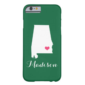 Alabama Heart Green Custom Monogram Barely There iPhone 6 Case