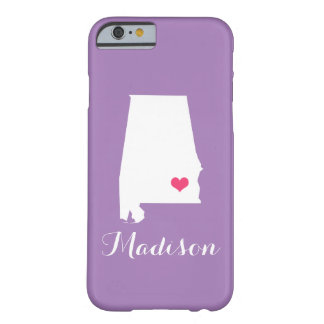 Alabama Heart Lilac Custom Monogram Barely There iPhone 6 Case