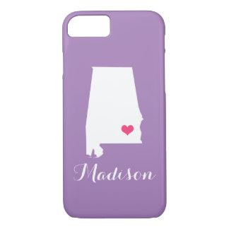 Alabama Heart Lilac Custom Monogram iPhone 7 Case