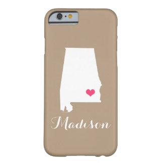 Alabama Heart Mocha Brown Custom Monogram Barely There iPhone 6 Case
