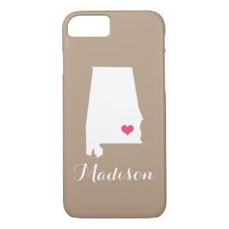 Alabama Heart Mocha Brown Custom Monogram iPhone 7 Case
