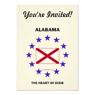 Alabama Heart of Dixie 5x7 Paper Invitation Card