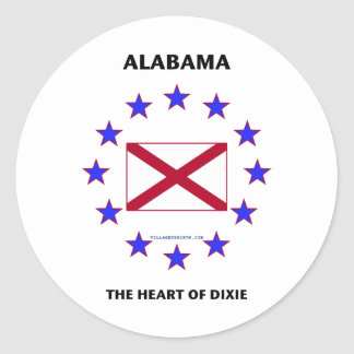 Alabama Heart of Dixie Classic Round Sticker