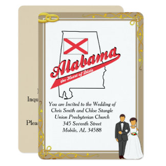 Alabama Heart of Dixie Wedding Invitation