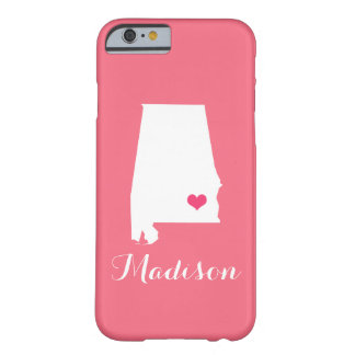 Alabama Heart Pink Custom Monogram Barely There iPhone 6 Case