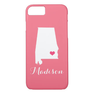 Alabama Heart Pink Custom Monogram iPhone 7 Case