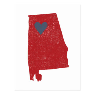 Alabama Heart postcard (crimson) - Customizable!