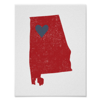 Alabama Heart poster (crimson) - Customizable!