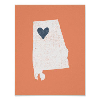 Alabama Heart poster (white) - Customizable!