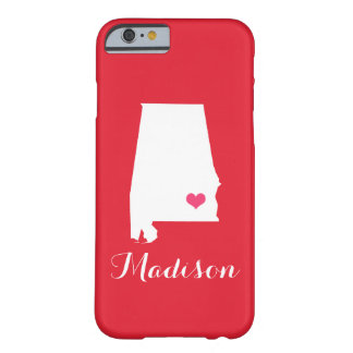 Alabama Heart Red Custom Monogram Barely There iPhone 6 Case