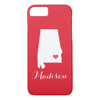 Alabama Heart Red Custom Monogram iPhone 7 Case