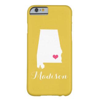 Alabama Heart Yellow Custom Monogram Barely There iPhone 6 Case
