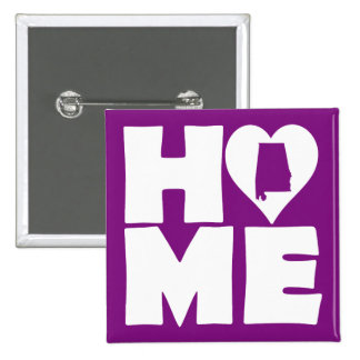 Alabama Home Heart State Button Badge Pin