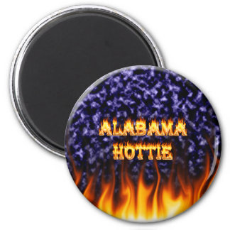 Alabama Hottie fire and flames blue marble. 2 Inch Round Magnet