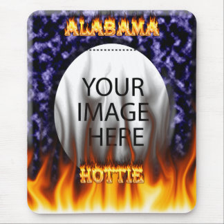 Alabama Hottie fire and flames blue marble. Mouse Pad