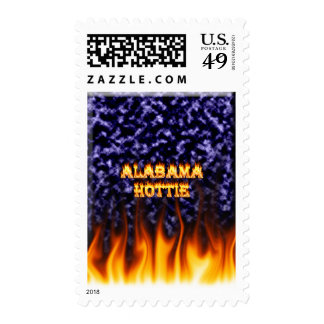 Alabama Hottie fire and flames blue marble Postage Stamps
