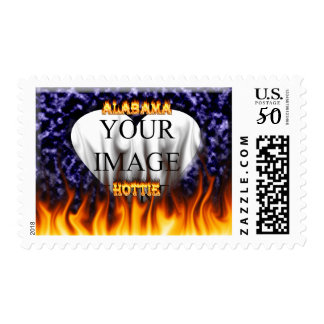 Alabama Hottie fire and flames blue marble Postage