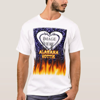 Alabama Hottie fire and flames blue marble. T-Shirt